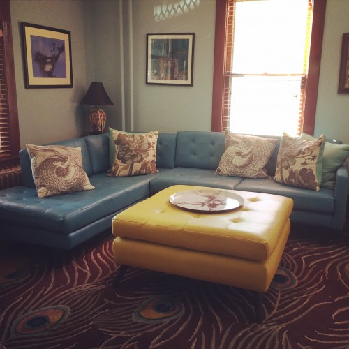 Eliot Leather Sectional with Bumper - Photo by Lisa B.