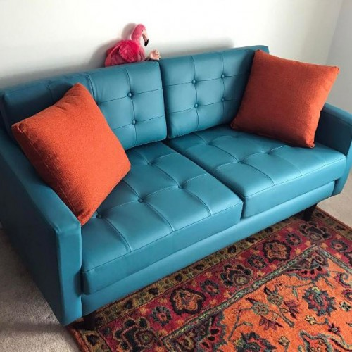 Eliot Leather Apartment Sofa - Photo by Caroline Helms